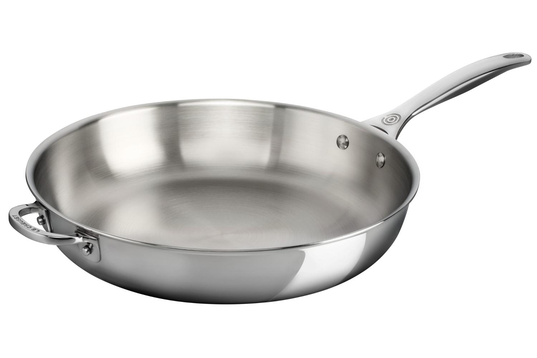 Le Creuset Premium Stainless Steel 11 inch Deep Fry Pan w/Helper Handle