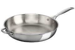Le Creuset Premium Stainless Steel 12 1/2 inch Deep Fry Pan w/Helper Handle