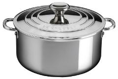 Le Creuset Premium Stainless Steel 5 1/2 qt. Shallow Casserole w/Lid