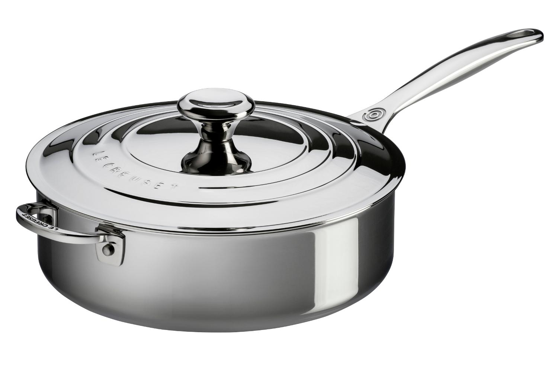Le Creuset Premium Stainless Steel 4 1/2 qt. Saute Pan w/Lid