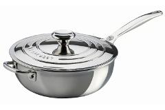 Le Creuset Premium Stainless Steel 3 1/2 qt. Saucier w/Lid