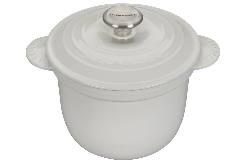 Le Creuset Enameled Cast Iron 2 1/4 qt. Rice Pot w/Insert - White