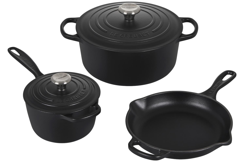 Le Creuset Signature Cast Iron 5 Piece Cookware Set - Licorice