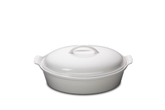 Le Creuset Heritage Stoneware 4 qt. Covered Oval Casserole - White