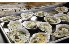 Loftin Oysters Set of 12 Ceramic Oyster Shells with Grilling Tongs
