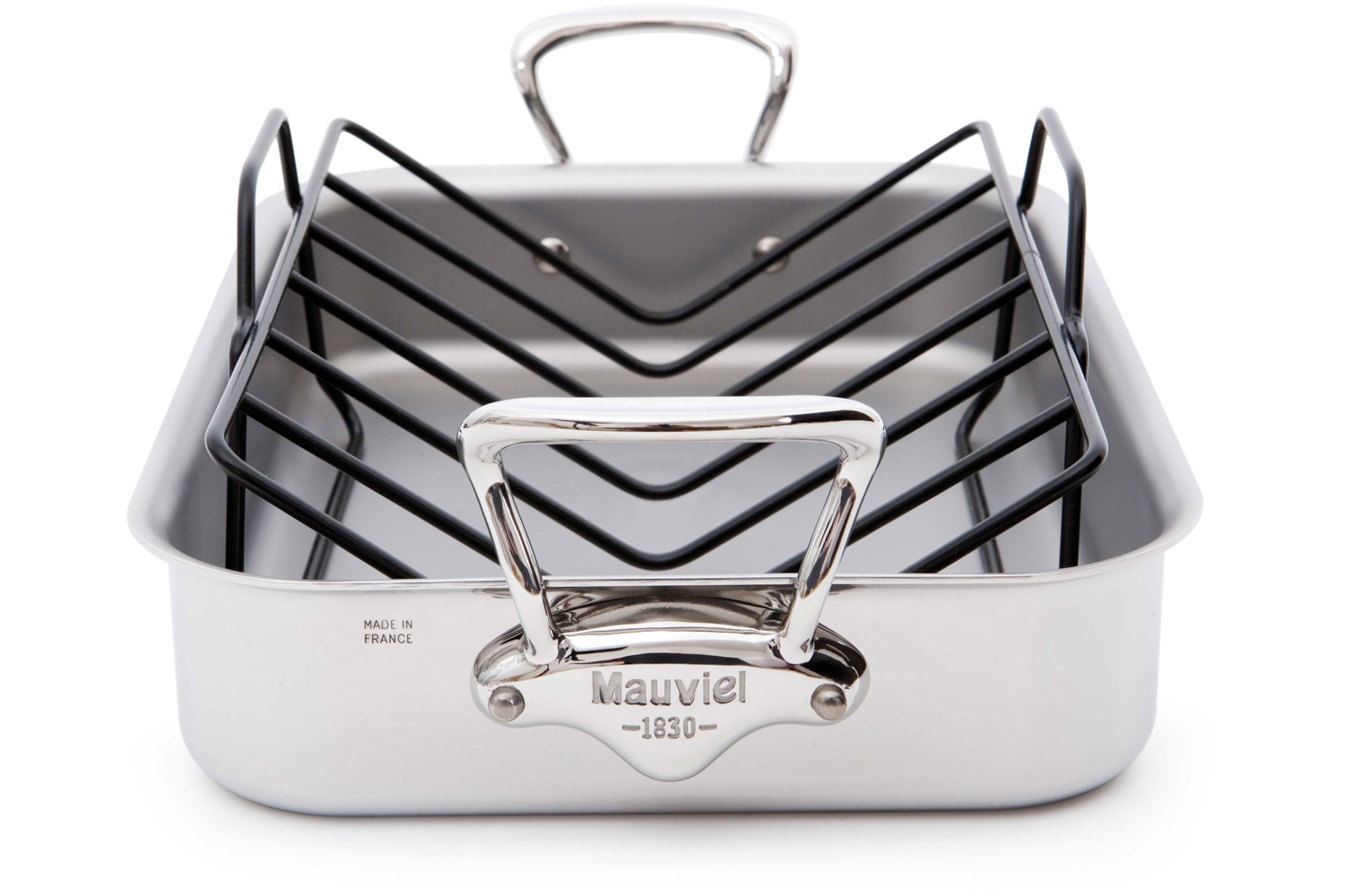 Mauviel M'cook Stainless Steel 15.7 x 11.8 inch Roasting Pan w/Rack