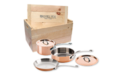Mauviel Copper M'150S 5 Piece Cookware Set w/Wooden Crate