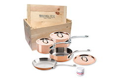 Mauviel Copper M'150S 7 Piece Cookware Set w/Wooden Crate