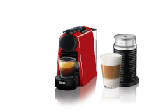 Nespresso Essenza Mini Espresso Machine by De'Longhi w/Aeroccino3 - Red