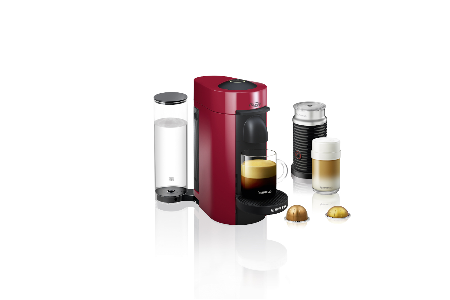 Nespresso VertuoPlus Coffee & Espresso Machine by De'Longhi w/Aeroccino3 - Red