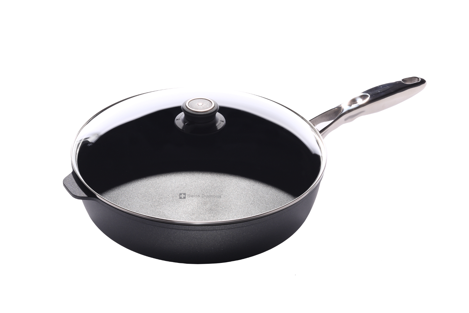 Swiss Diamond Nonstick 5.8 qt. Saute Pan w/Stainless Steel Handle & Lid