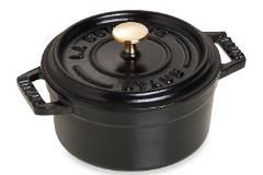 Staub Cast Iron 1/4 qt. Round Ramekin - Matte Black w/Brass Knob