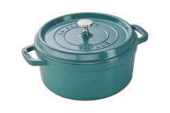 Staub Cast Iron 4 qt. Round Cocotte - Turquoise w/Stainless Steel Knob