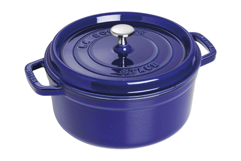 Staub Cast Iron 4 qt. Round Cocotte - Dark Blue w/Stainless Steel Knob