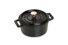 Staub Cast Iron 5 1/2 qt. Round Cocotte - Matte Black w/Brass Knob