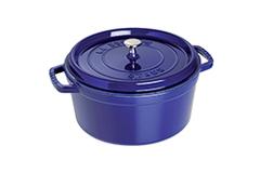 Staub Cast Iron 5 1/2 qt. Round Cocotte - Dark Blue