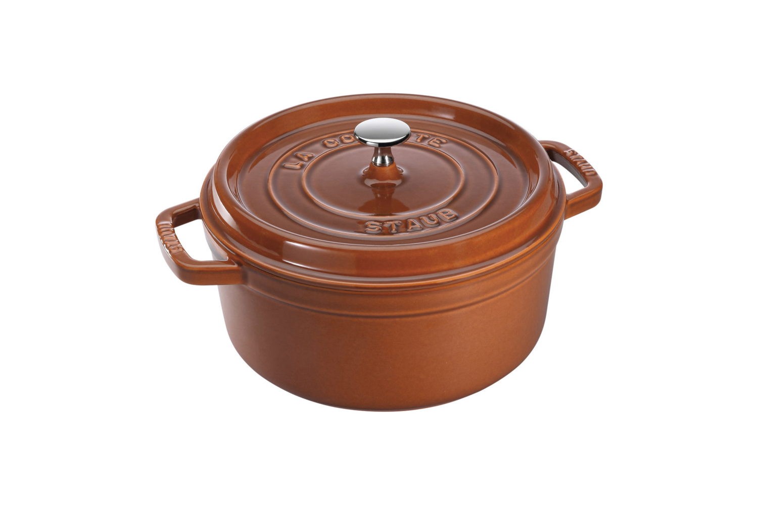 Staub Cast Iron 7 qt. Round Cocotte - Burnt Orange w/Stainless Steel Knob