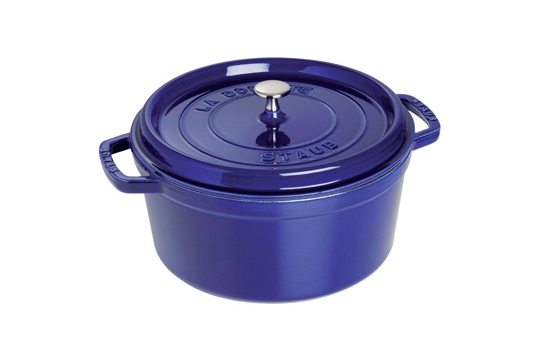 Staub Cast Iron 7 qt. Round Cocotte - Dark Blue w/Stainless Steel Knob