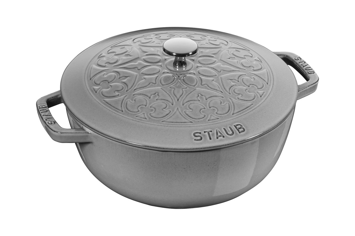 Staub Cast Iron 3 3/4 qt. Essential Fleur De Lis French Oven w/Stainless Steel Knob - Graphite Grey