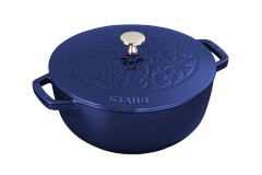 Staub Cast Iron 3 3/4 qt. Essential Fleur De Lis French Oven w/Stainless Steel Knob - Dark Blue