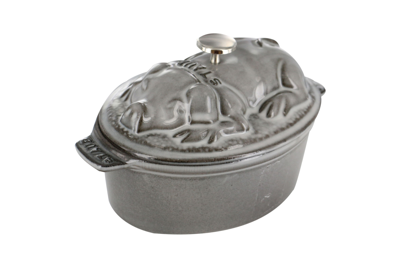 Staub Cast Iron 1 qt. Pig Cocotte - Graphite Grey