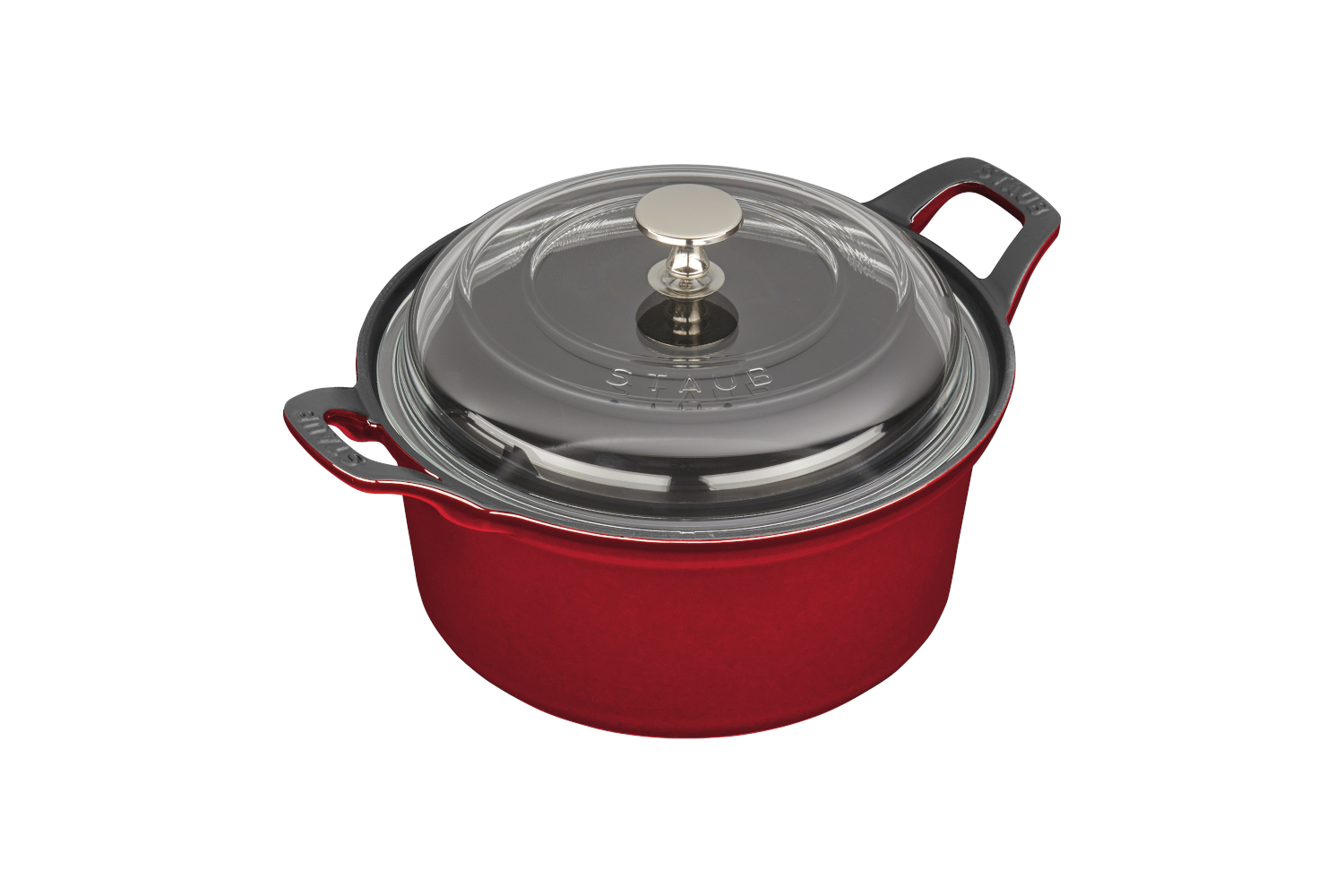 Staub Cast Iron 2 3/4 qt. Round La Coquette with Glass Lid - Cherry