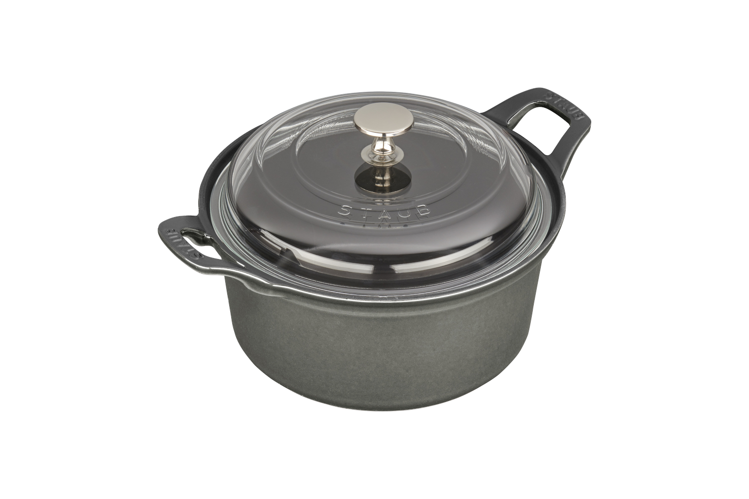 Staub Cast Iron 2 3/4 qt. Round La Coquette with Glass Lid - Graphite Grey