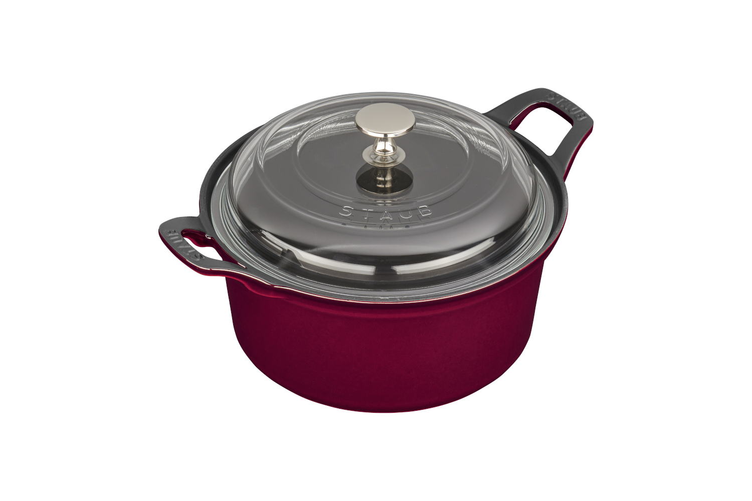 Staub Cast Iron 2 3/4 qt. Round La Coquette with Glass Lid - Grenadine