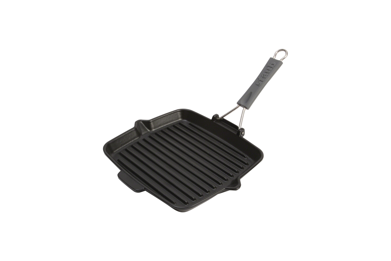Staub Cast Iron 9 1/2 inch Square Folding Grill - Matte Black