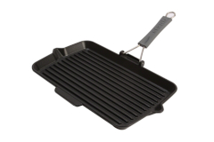 Staub Cast Iron 13.4 X 8.3 inch Rectangular Folding Grill - Matte Black