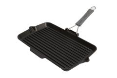 Staub Cast Iron 13.4 X 8.3 inch Rectangular Folding Grill - Matte Black