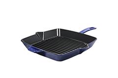 Staub Cast Iron American Square Grill Pan 10 x 10 inch - Dark Blue