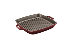 Staub Cast Iron 13 inch Square Double Handle Grill Pan - Grenadine
