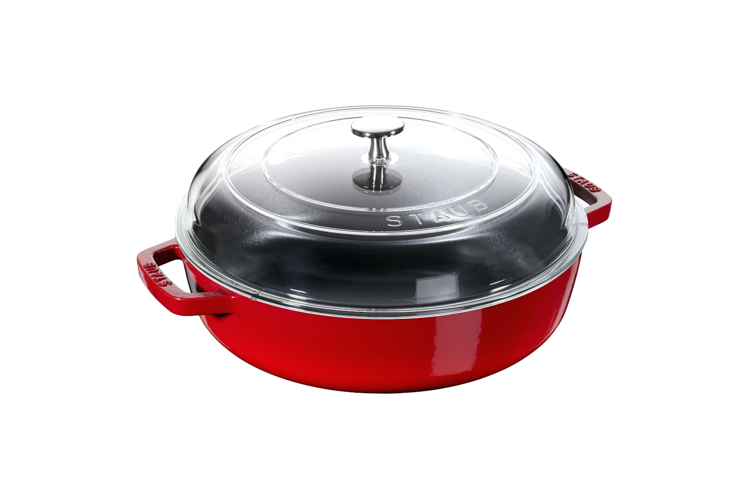 Staub Cast Iron 4 qt. Universal Deluxe Pan with Glass Lid - Cherry