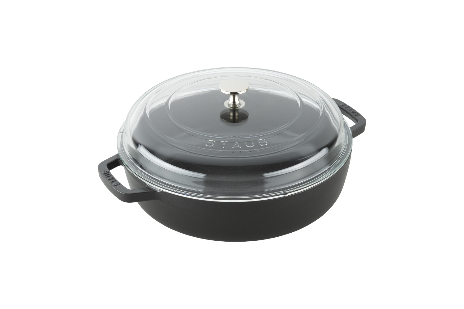 Staub Cast Iron 4 qt. Universal Deluxe Pan with Glass Lid - Matte Black