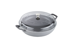 Staub Cast Iron 3 1/2 qt. Braiser w/Glass Lid - Graphite Grey