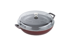 Staub Cast Iron 3 1/2 qt. Braiser w/Glass Lid - Grenadine