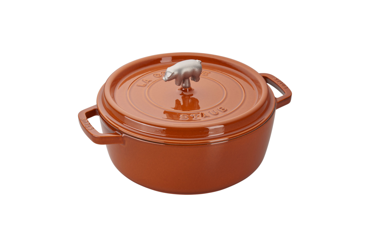 Staub Cast Iron 6 qt. Cochon Shallow Wide Round Cocotte - Burnt Orange