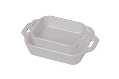 Staub Ceramic 2 Piece Rectangular Baking Dish Set - White