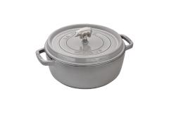 Staub Cast Iron 6 qt. Cochon Shallow Wide Round Cocotte - Graphite Grey