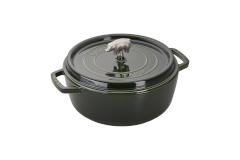 Staub Cast Iron 6 qt. Cochon Shallow Wide Round Cocotte - Basil