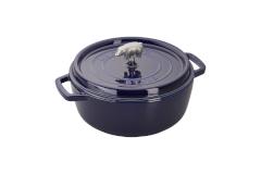 Staub Cast Iron 6 qt. Cochon Shallow Wide Round Cocotte - Dark Blue