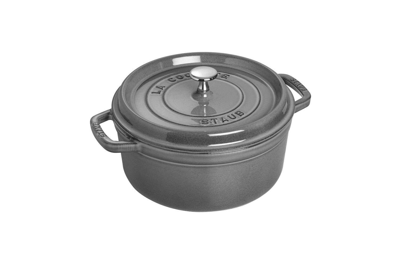 Staub Cast Iron 4 qt. Round Cocotte - Graphite Grey w/Stainless Steel Knob