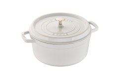 Staub Cast Iron 4 qt. Round Cocotte - White Truffle w/Stainless Steel Knob