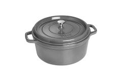 Staub Cast Iron 7 qt. Round Cocotte - Graphite Grey w/Stainless Steel Knob