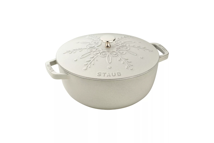Staub Cast Iron 3 3/4 Quart Essential French Oven w/Snowflake Lid - White Truffle