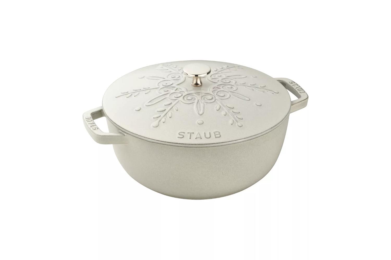 Staub Cast Iron 3 3/4 Quart Essential French Oven w/Snowflake Lid - White Truffle