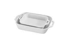Staub Ceramic 2 Piece Rectangular Baking Dish Set - White
