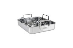 Viking 3-Ply Stainless Steel 16 x 13 inch Roasting Pan w/Nonstick Rack