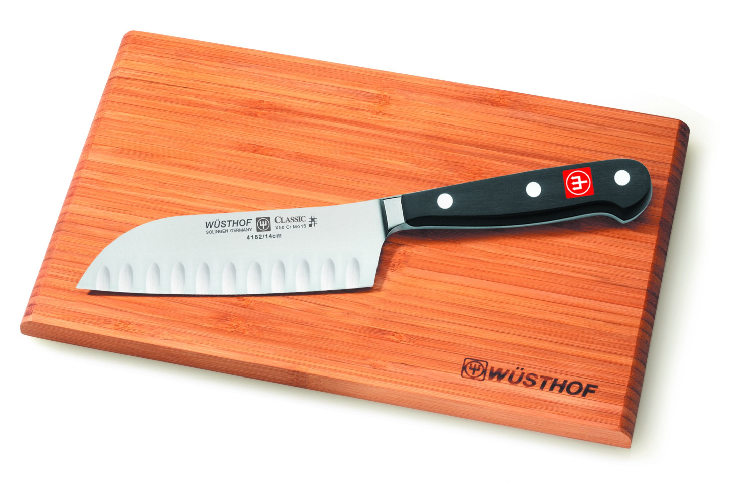 Wusthof Classic 5 inch Hollow Edge Santoku Knife & Cutting Board Set